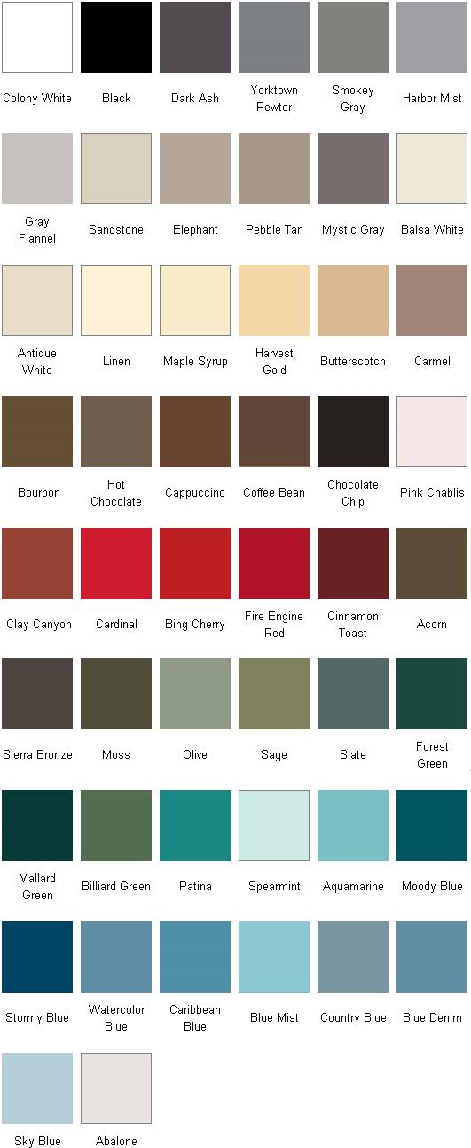 Milgard Color Chart